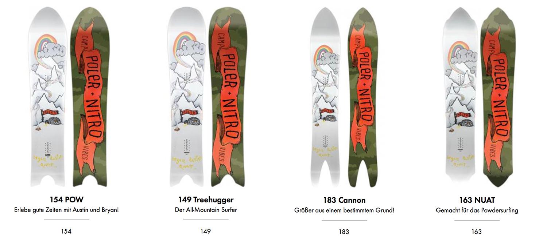 Schöne Schneebretter von Nitro Snowboards